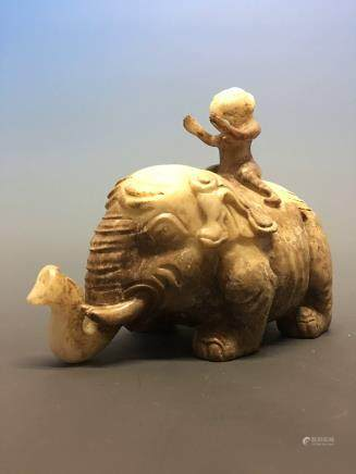 Chinese Archaic 'Kid on Elephant' Jade