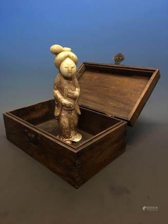 Chinese Archaic 'Tang People' Jade Statue in Redwood Box