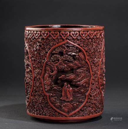A CINNABAR LACQUER BRUSH POT
