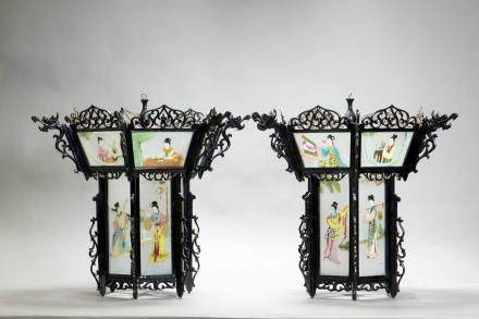 A PAIR OF ROSEWOOD GLASS 'FIGURE'  HEXAGONAL LANTERNS