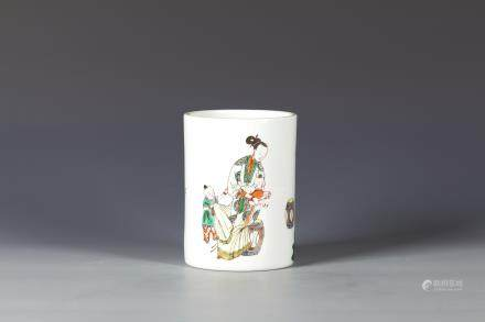 Famille Rose Chinese  Porcelain Brush pot