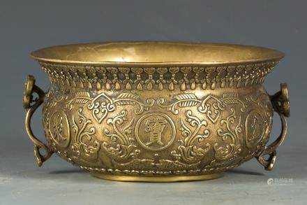 A GILT BRONZE POT