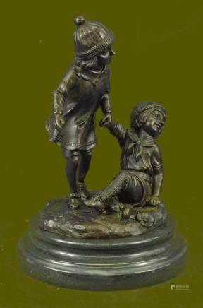 Bronze Group Two Children Statue Signed Decor Sculpture