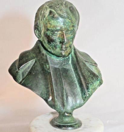 ANTIQUE 7'' Bronze Art sculpture a man with marble base