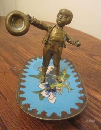 antique handmade ornate mini bronze cloisonne boy kid