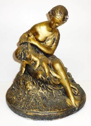 Antique VINTAGE Ceramic Gold MOTHER & CHILD SCULPTURE