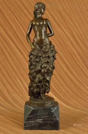 Handmade bronze sculpture Base Marble Woman Nude Delor