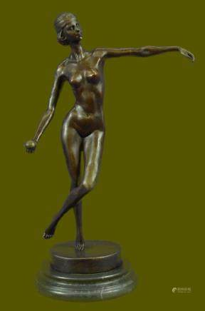 SIGNED DECO BRONZE SCULPTURE CUBISM NUDE GIRL ABSTRACT