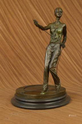 Hand Made bronze sculpture Trainer Dog Lady Taylor Art
