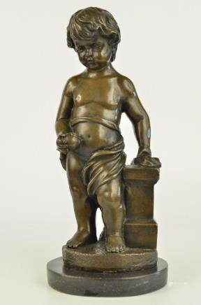 Signed Real Bronze Statue Young Boy Cherub Sculpture