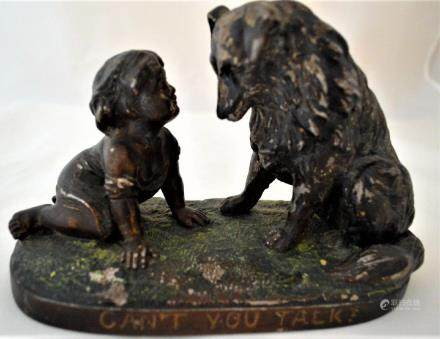 Antique Spelter Metal Sculpture CAN'T YOU TALK by G.