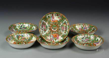 Chinese Six Rose Medallion Bowls