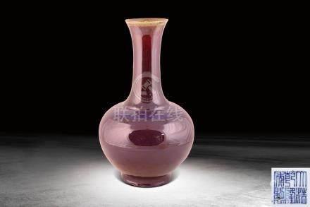 清  紅鈞釉天球瓶