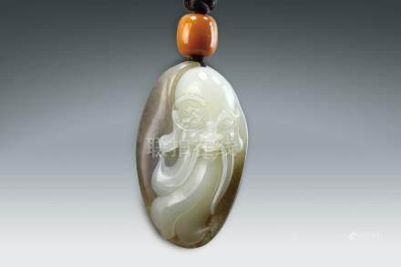 和闐白玉巧雕壽星掛件