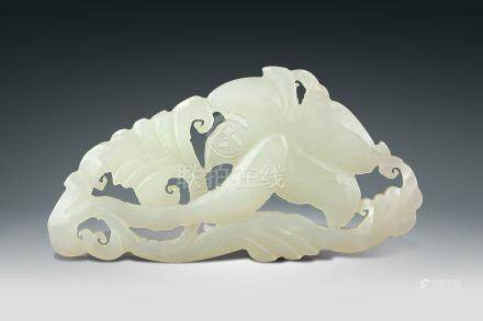 民國  白玉雕花卉紋佩飾