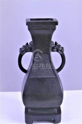 Chinese Antique Bronze Vase Dragon Handles