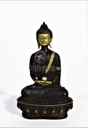Bronze Amitabha Medicine Buddha sitting on Lotus