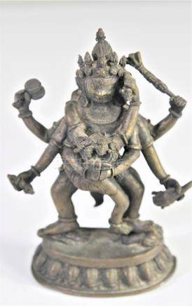 Tibetan Bronze Mahakala and his Consort Yab-Yum