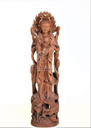 Hand Carved Wooden Kwan Yin on Lotus Base