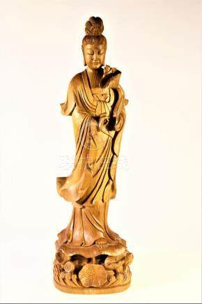 Large Carved Standing Guanyin Holding Lotus Flower