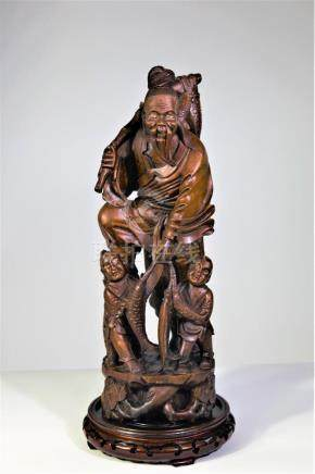 Carved Chinese Fisherman & Sons
