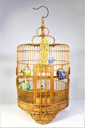Exquisitely Hand Carved Chinese Bamboo Bird Cage