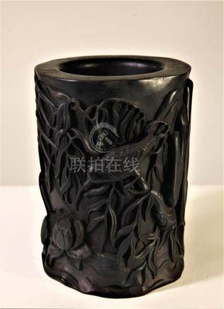 Chinese Wood Carved Bird and Lotus Brush Pot