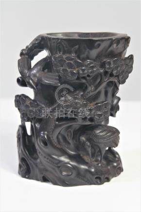 Chinese Intricate Crane and Pine Tree Brush Pot