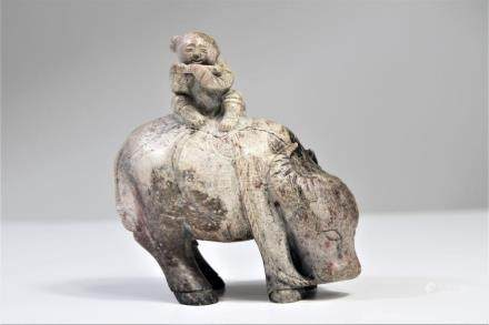 Qing Dynasty Bone Jade Buffalo & Boy