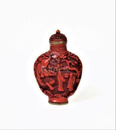 Signed Chinese Carved Cinnabar Snuff Bottle