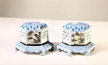 Pair Chinese Porcelain Hexagonal Incense Burners