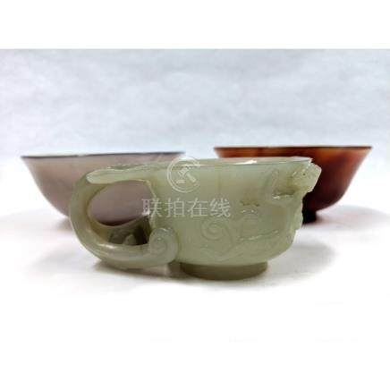 Celadon Jade Carved 'Chilong' Libation Cup and