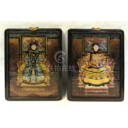 Pair of Reverse Glass Painted Portraits.