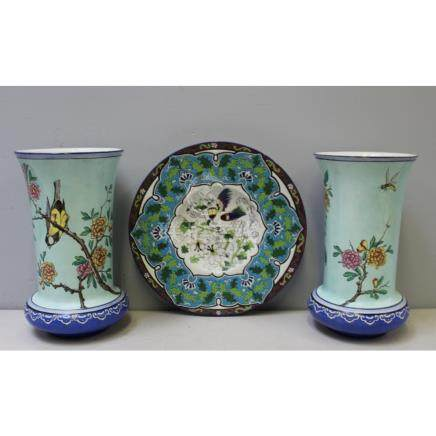 Pair of Gien Faience Vases Together with a