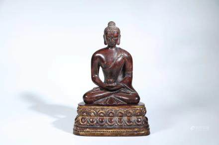 A CHENXIANG WOOD FIGURE OF BHAISAJYAGURU