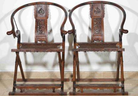 A PAIR OF HUANGHUALI HORSE BACK CHAIRS