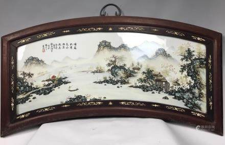 A FAMILLE ROSE PLAQUE OF LANSCAPE, WANG YETING
