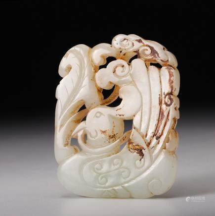 CHINESE JADE CARVED MANDARIN DUCK PENDANT