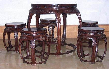 Rare Set Chinese Rosewood Carved Round Table & Stools