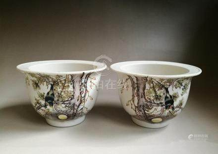 Old Pair Chinese Famille Rose Porcelain Planters