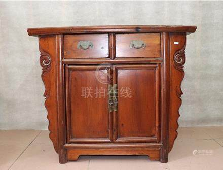 Fine Old Chinese hardwood Craved Storage Cupboard