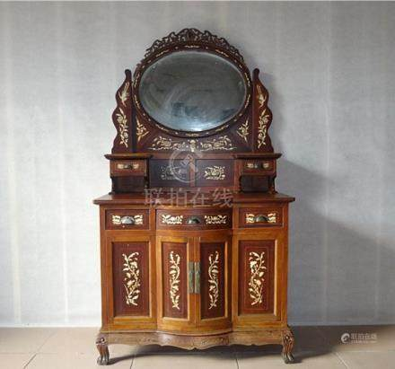 Fine Old Chinese Hardwood Carved Cosmetic Table