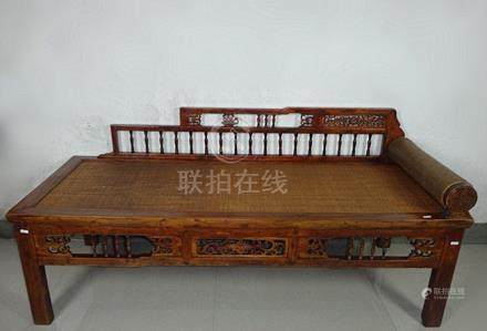 Fine Old Chinese Hardwood Carved Luohan Bed