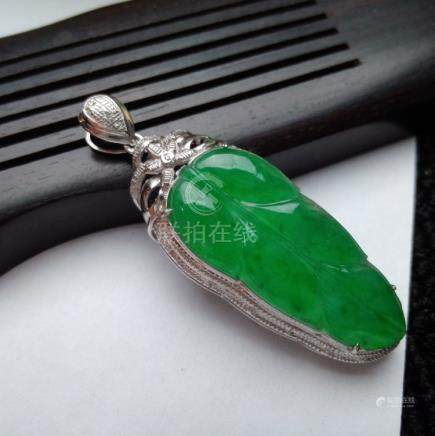 Certified A Grade Full Apple Green 18K Jadeite Pendant