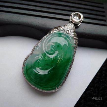 Certified 18K Chinese Full Apple Green Jadeite Pendant