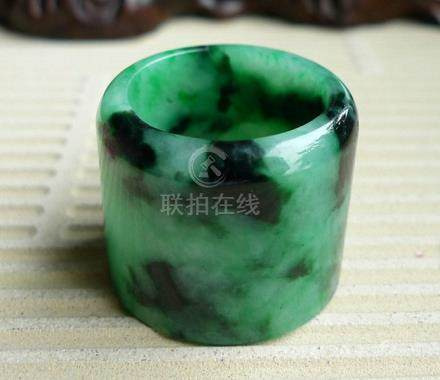Certified Vintage Chinese Green Jadeite Thumb Ring