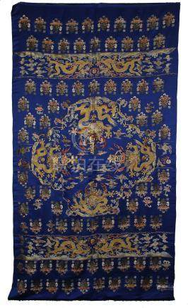 CHINESE EMBROIDERY BLUE GROUND DRAGON TRAPESTY