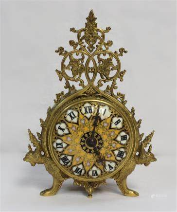 "Dural Bronze & Enamel Clock Dural Bronze & Enamel Clock , 7 1/4"" H"