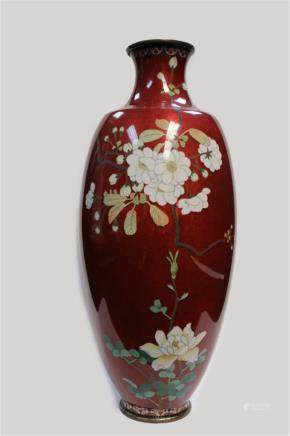 "Japanese Cloisonne Vase w Flowers Japanese Cloisonne Vase w Flowers , 14 1/2"" H"