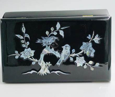 Chinese, Mother of Pearl Inlay Birds, Black Lacquer Box, 7-3